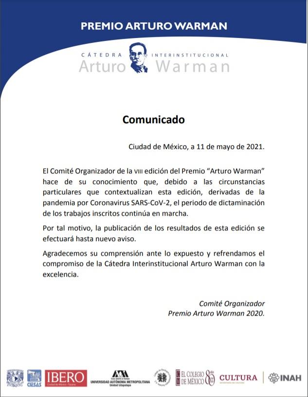 Aviso Premio Cátedra Arturo Warman