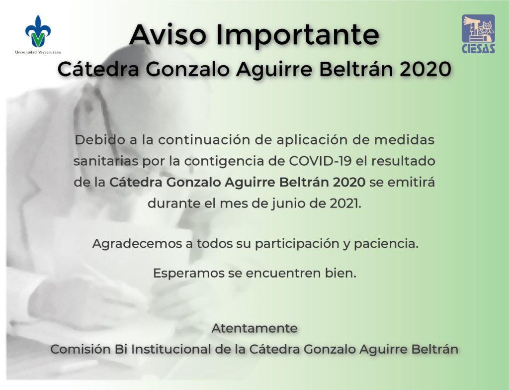 Aviso Cátedra Gonzalo Aguirre Beltrán