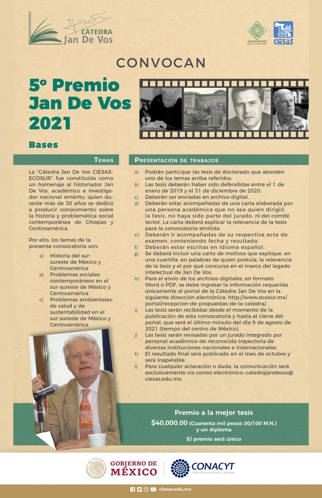 Convocatoria Premio Jan De Vos 2021